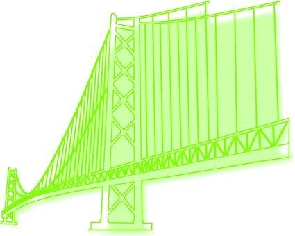 吊橋的剪影