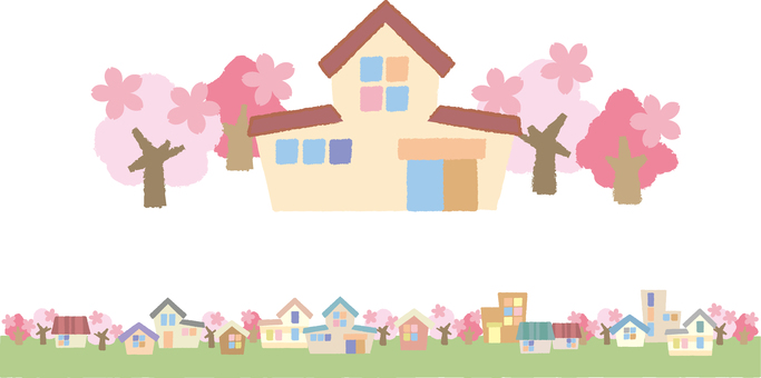 Cherry Trees and Home and Town