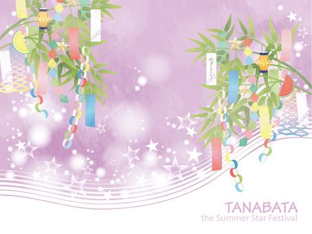 Light-colored Tanabata image frame purple