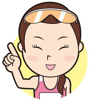Pointing female athlete (smile)