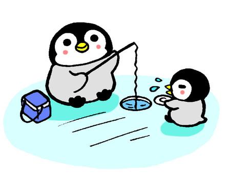Penguin chick fish fishing