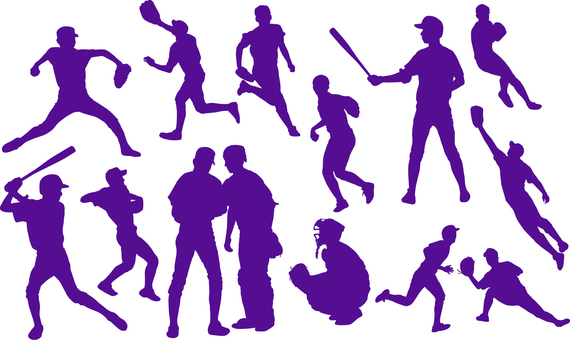 Baseball player _ Silhouette _ Set _ 02 _ purple