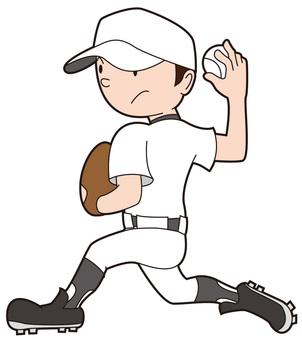Baseball boy trying to throw a ball