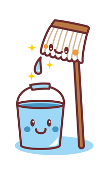 Cleaning of buckets and mop characters