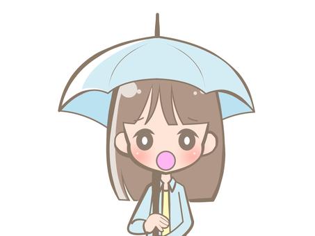拿著傘哀傷的婦女190813