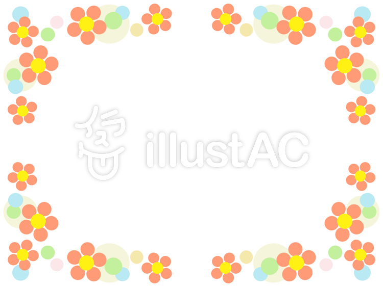 花模様と水玉模様のフレームかわいい飾り枠イラスト No 838521無料
