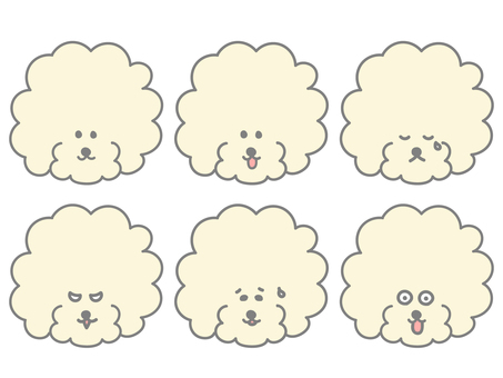 Toy poodle facial expression set