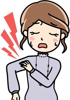 女性会社員OLの肩こり、肩が痛い