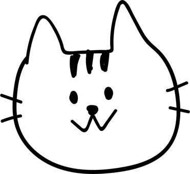 Handwritten cat face up