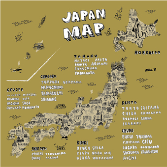 Illustration map of one hundred Japanese scenery