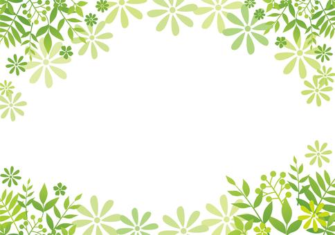 나뭇잎과 꽃잎 녹색 배경