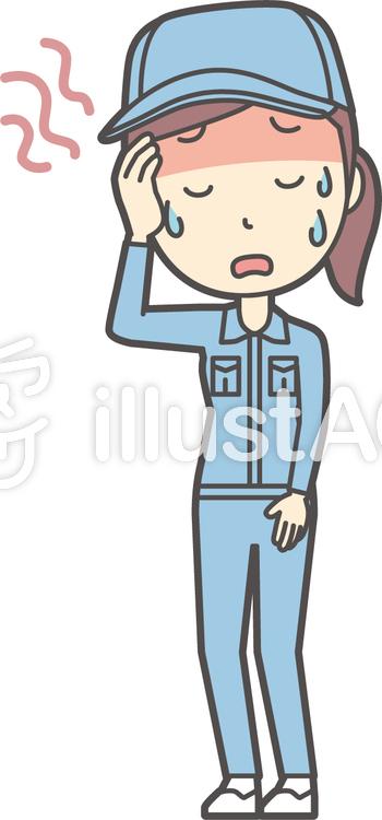 作業員女性ブルー-328-全身のイラスト