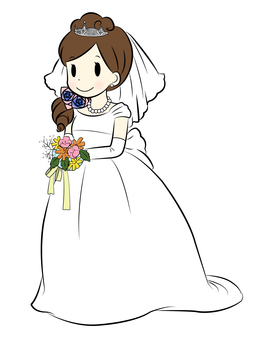 A bride with flowers No background