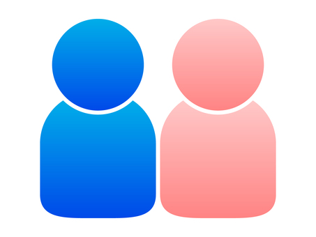 People icon (2 people) Blue and pink gradation