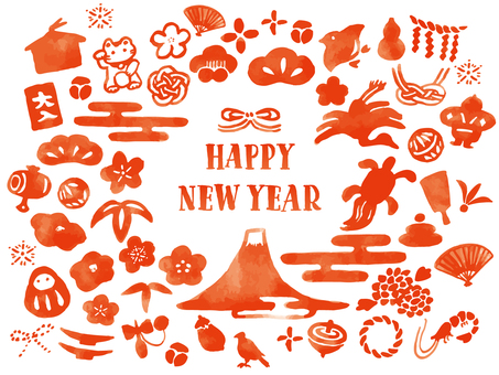新年賀卡水彩畫集