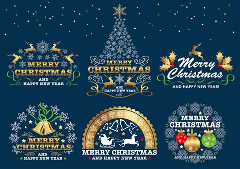 Christmas symbol mark set