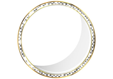 Black-and-white square pattern round frame