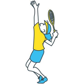 青黄白のサーブを打つテニス少女