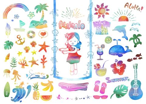 明信片的熱帶插圖集(水彩顏色)