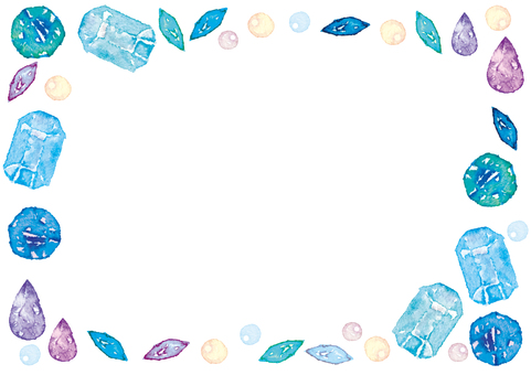 Watercolor style gem frame background