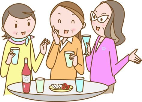 Senior women's party drinking party