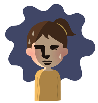 Illustration of person who suffers [dramatic style, anxiety, woman]