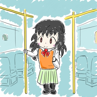 Female junior high school student grabbing the handrail by bus