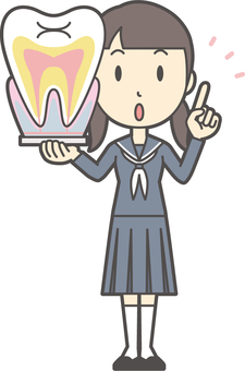 Junior high school sailor woman-235-whole body