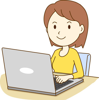 A lady who operates a laptop computer