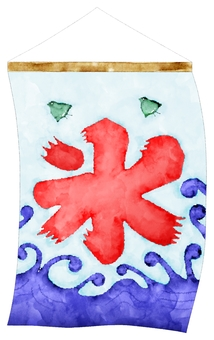 Watercolor of swaying shaked ice flag