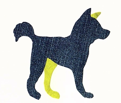 犬 カラーシルエット 青×黄緑