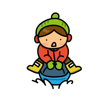 Child's illustration playing with a sled