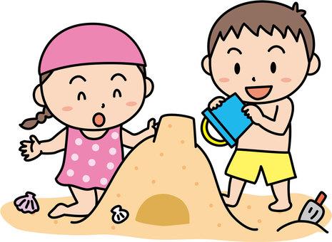 Sandy Beach and Children