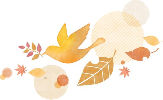 秋の鳥と葉