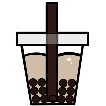 Illustration of a simple tapioca milk tea
