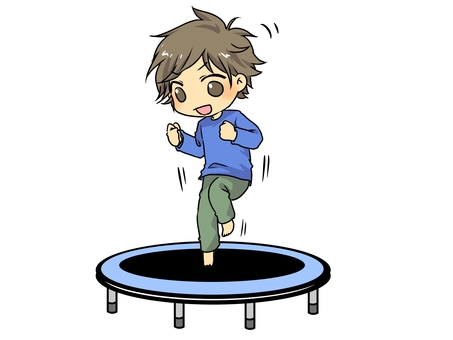 Kids playing on trampoline