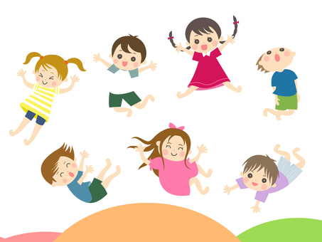 Children jumping on a trampoline