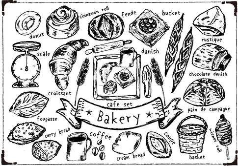 Authentic bakery handwriting set