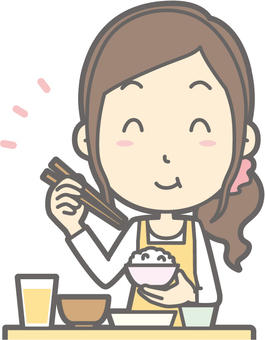 Housewife f - delicious Japanese food - bust
