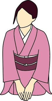 Female color of kimonos with three fingers