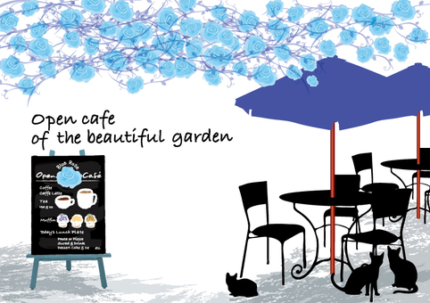 Open cafe blue vine rose garden and cat card