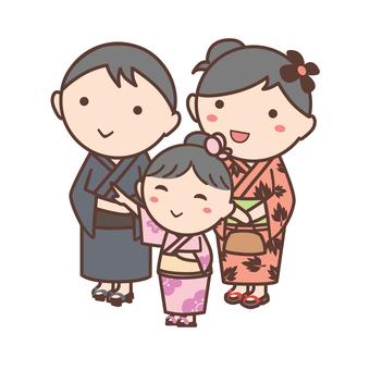Illustration of a family wearing yukata