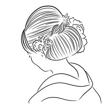 Back view of woman in kimono