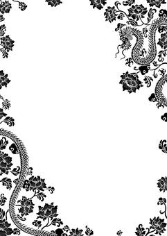 中華風 龍柄と花柄