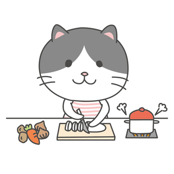 Hachiware cat cooking
