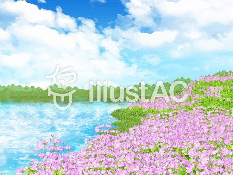 サクラソウの丘と湖