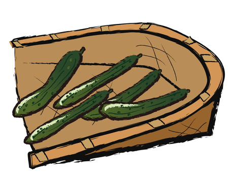 Handwritten wind Summer vegetables Cucumber