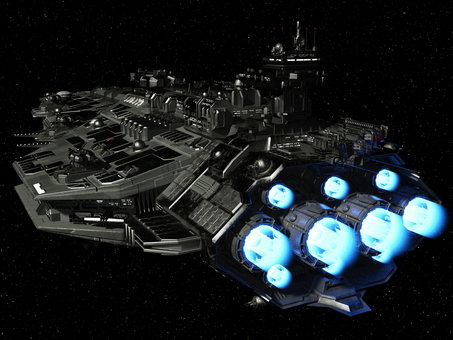 去り行く巨大戦艦