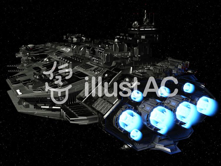 去り行く巨大戦艦のイラスト
