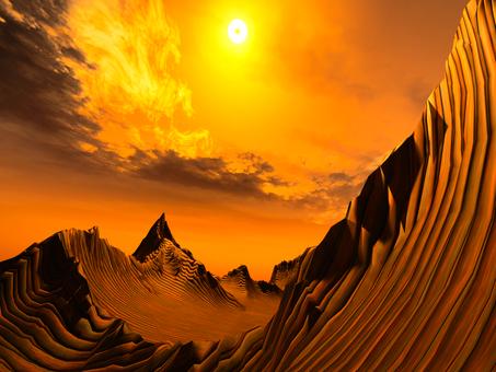 Fantastic fantasy landscape (line)